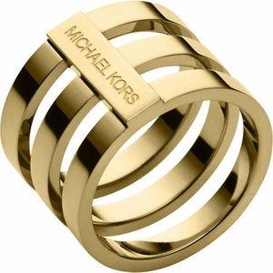 Michael Kors Layered Tri-Stack Open Gold Bar Ring